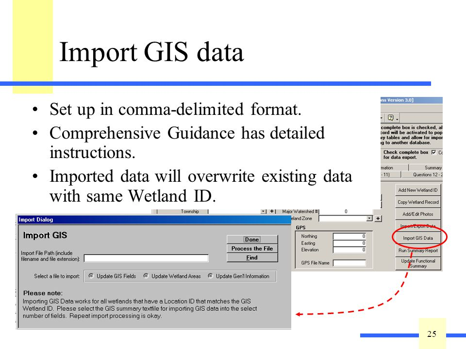 25 Import GIS data Set up in comma-delimited format. Comprehensive Guidance has detailed instructions. Imported data will overwrite existing data with