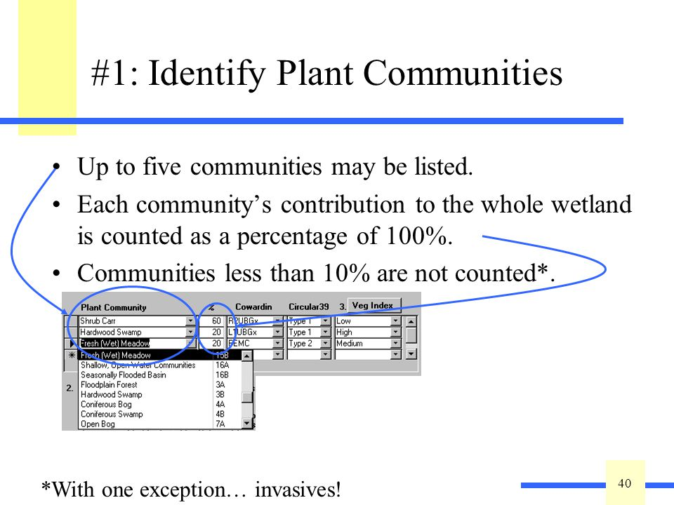 40 #1: Identify Plant Communities Up to five communities may be listed.