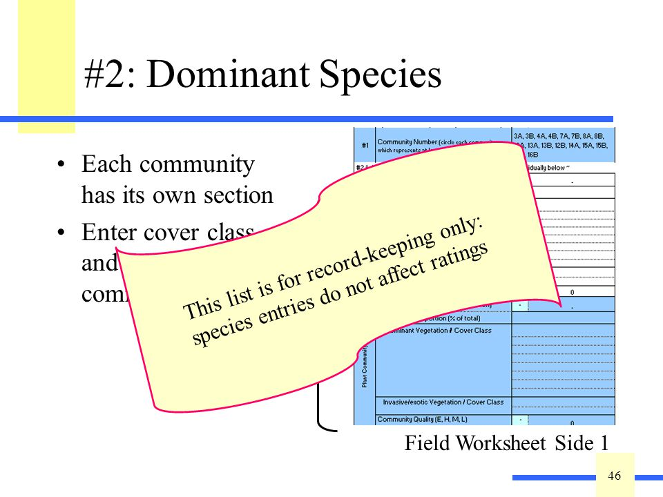 46 #2: Dominant Species Each community has its own section Enter cover class and rate community quality.