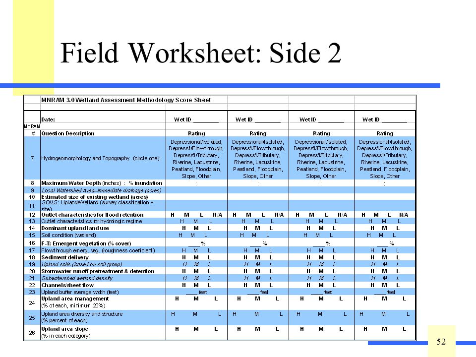 52 Field Worksheet: Side 2 Four columns per sheet One wetland per column or Same wetland, different assumptions (one as-is, another as expected, etc.)