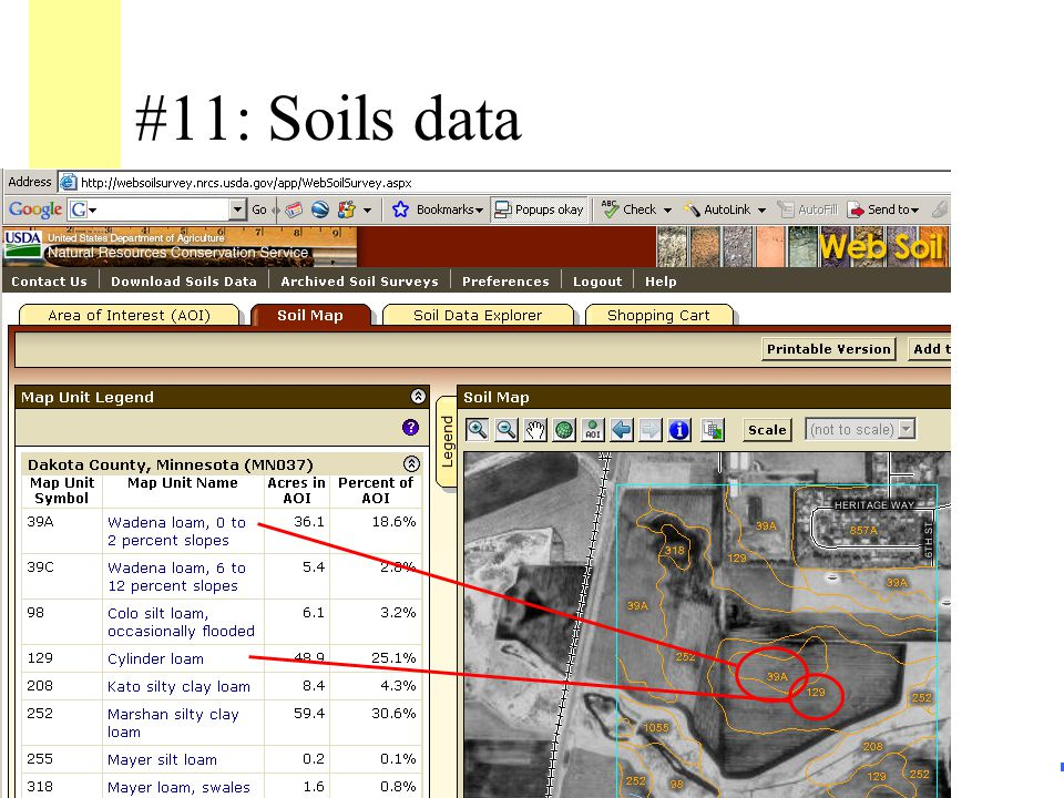 56 #11: Soils data Survey Classification(s): –Adjacent upland (within 500 feet) –Wetland area click for image of soil data website