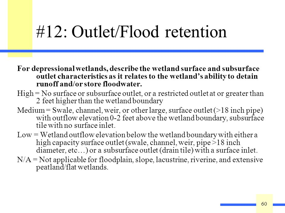 60 #12: Outlet/Flood retention For depressional wetlands, describe the wetland surface and subsurface outlet characteristics as it relates to the wetlands ability to detain runoff and/or store floodwater.