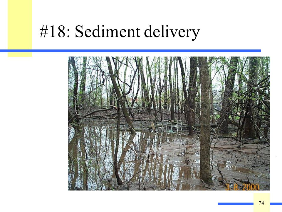 74 #18: Sediment delivery Describe the extent of observable/historical sediment delivery to the wetland from anthropogenic sources including agriculture: High =No evidence of sediment delivery to wetland.