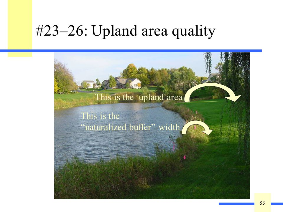 83 #23–26: Upland area quality Estimate buffer width –only count naturalized area as buffer –take the average around the entire site Qualify upland ar