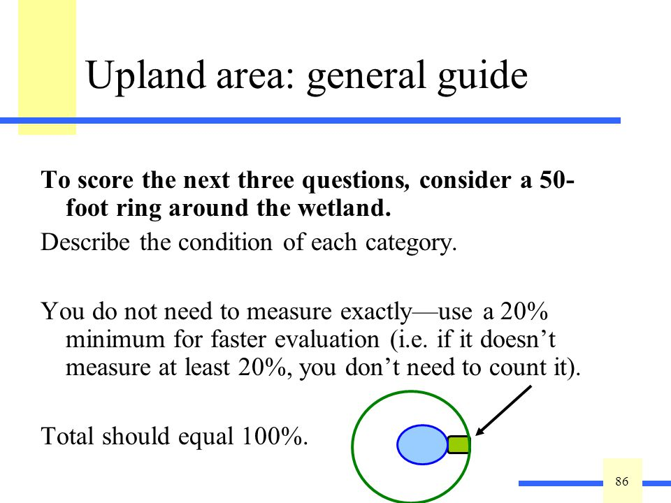 86 Upland area: general guide To score the next three questions, consider a 50- foot ring around the wetland.