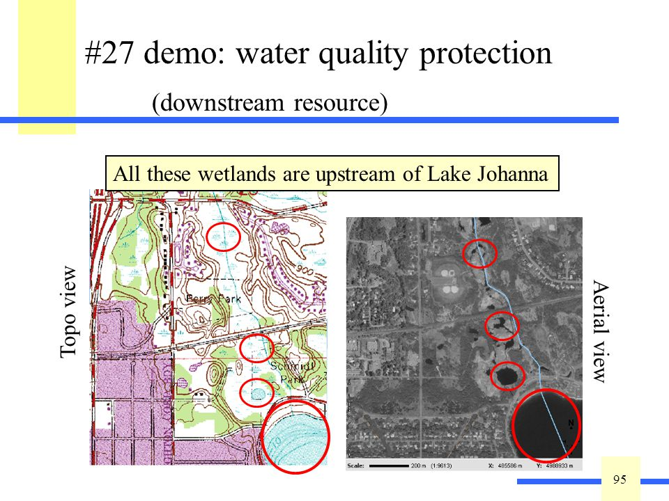 95 #27 demo: water quality protection (downstream resource) High = One or more resource within ½ mile Medium = …within 0.5 - 2 miles Low = > 2 miles A