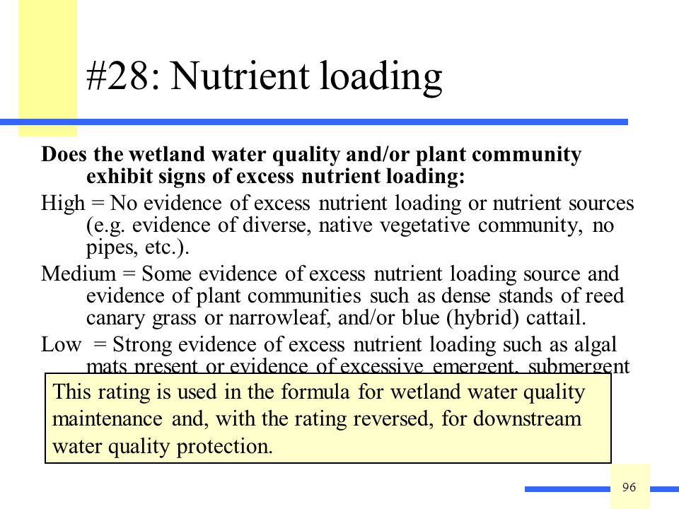 96 #28: Nutrient loading Does the wetland water quality and/or plant community exhibit signs of excess nutrient loading: High = No evidence of excess