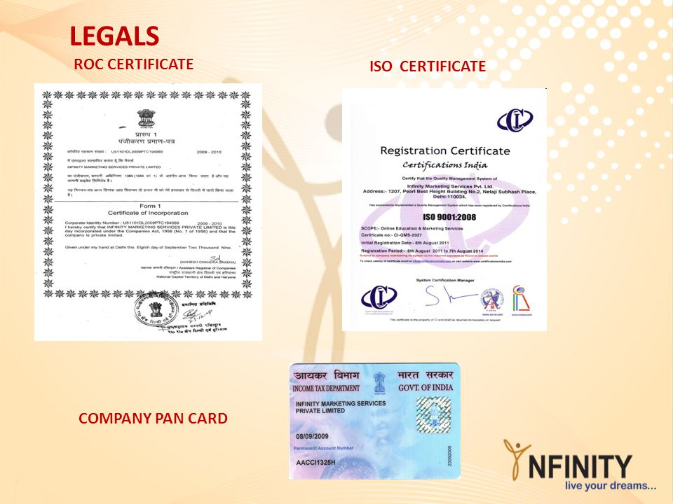ROC CERTIFICATE ISO CERTIFICATE LEGALS COMPANY PAN CARD