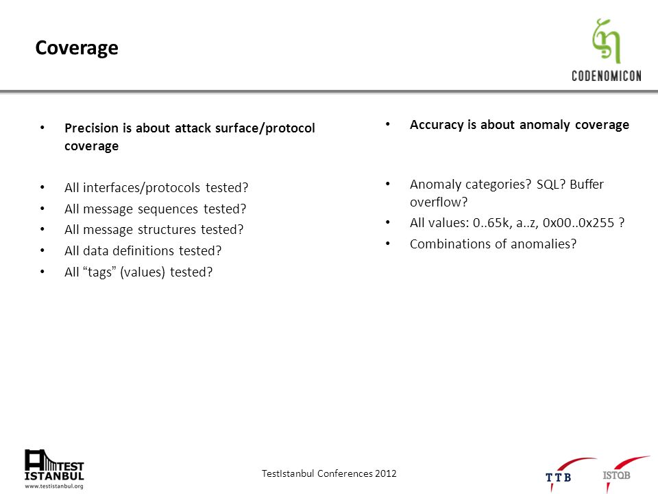 TestIstanbul Conferences 2012 Coverage Precision is about attack surface/protocol coverage All interfaces/protocols tested.