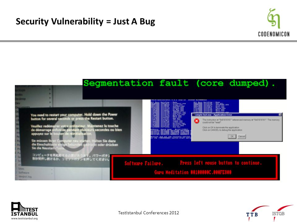 TestIstanbul Conferences 2012 Security Vulnerability = Just A Bug