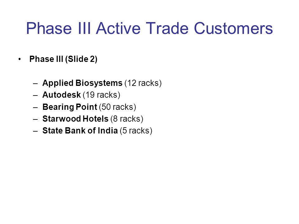 Phase III Active Trade Customers Phase III (Slide 2) –Applied Biosystems (12 racks) –Autodesk (19 racks) –Bearing Point (50 racks) –Starwood Hotels (8 racks) –State Bank of India (5 racks)