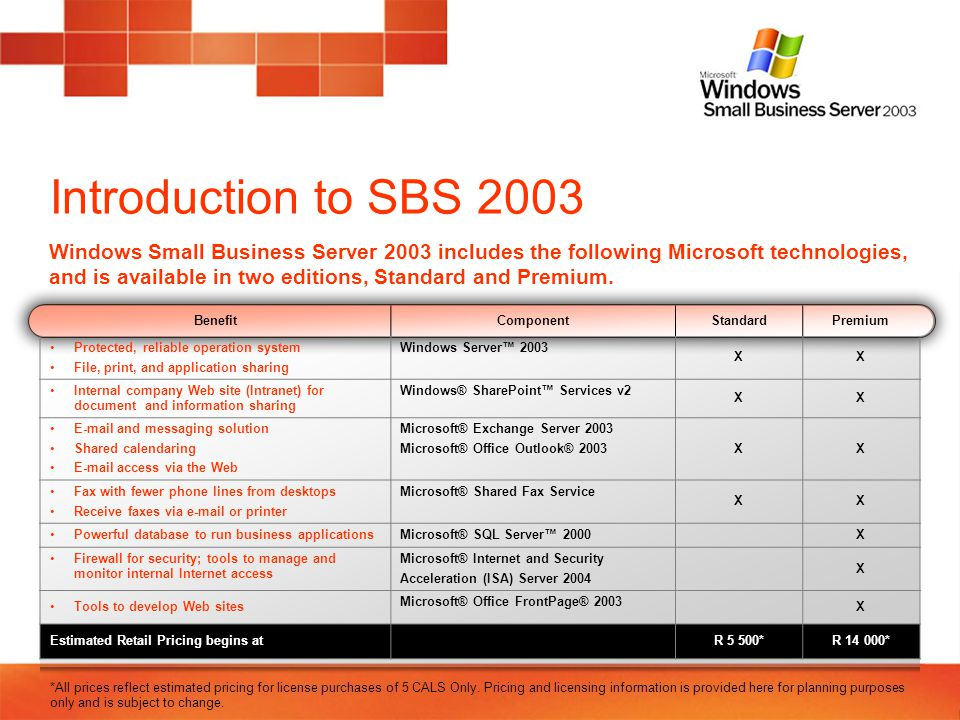 Introduction to SBS 2003 A server is a specialized computer that manages shared resources Controls access to other devices such as printers and fax machines, and other PCs Manages access to files and data such as customer information, financial files, graphics and business presentations A network is a group of computers connected to each other to share information A server acts as the central hub, allowing users to be more productive and businesses to save money because they can share files, software, and equipment Information can be backed up and saved, decreasing the risk of data loss Windows Small Business Server 2003 is installed on a network server