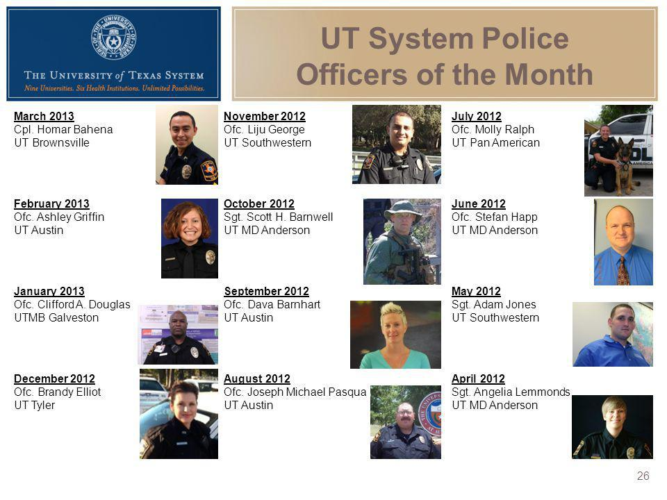 UT System Police Officers of the Month March 2013 Cpl. Homar Bahena UT Brownsville November 2012 Ofc. Liju George UT Southwestern July 2012 Ofc. Molly
