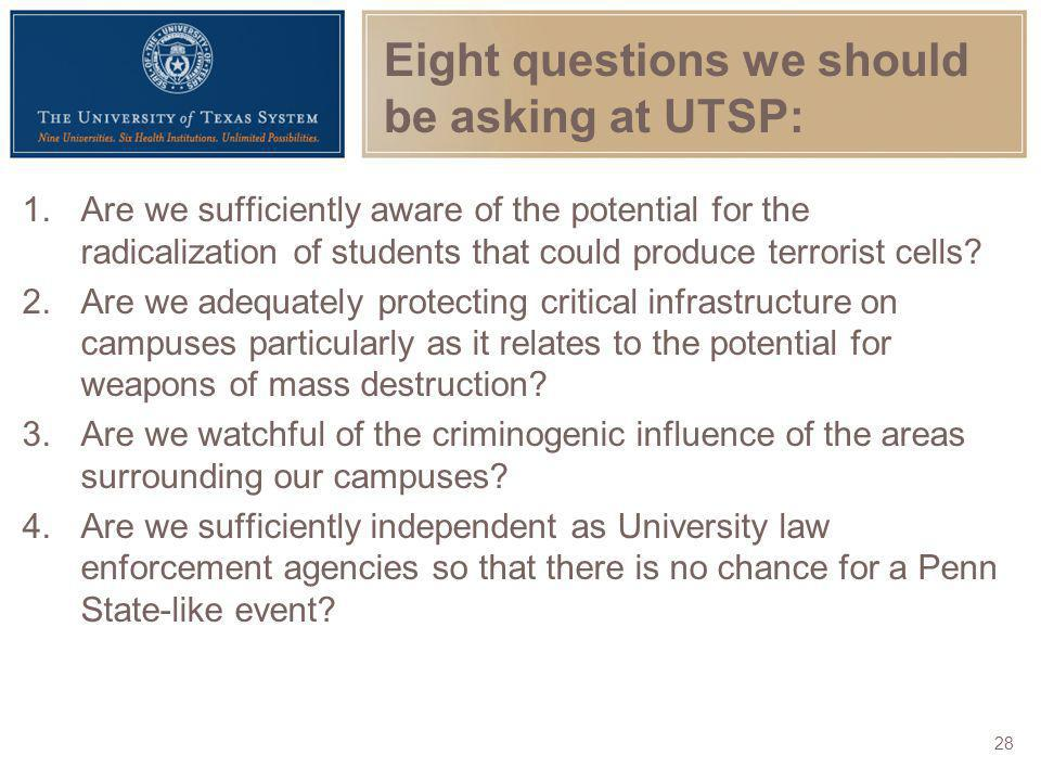Eight questions we should be asking at UTSP: 1.Are we sufficiently aware of the potential for the radicalization of students that could produce terror