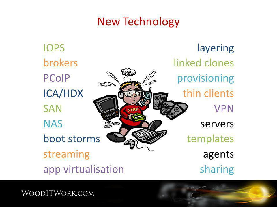 New Technology IOPS brokers PCoIP ICA/HDX SAN NAS boot storms streaming app virtualisation layering linked clones provisioning thin clients VPN servers templates agents sharing