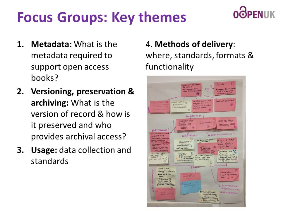 Focus Groups: Key themes 1.Metadata: What is the metadata required to support open access books? 2.Versioning, preservation & archiving: What is the v