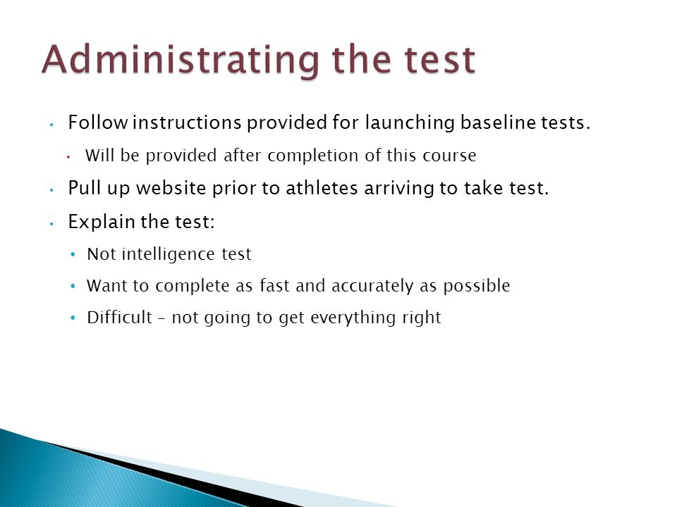 Follow instructions provided for launching baseline tests.