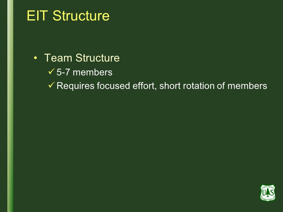 EIT Structure Team Structure 5-7 members Requires focused effort, short rotation of members