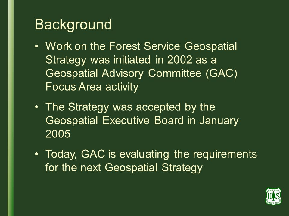 Background Work on the Forest Service Geospatial Strategy was initiated in 2002 as a Geospatial Advisory Committee (GAC) Focus Area activity The Strategy was accepted by the Geospatial Executive Board in January 2005 Today, GAC is evaluating the requirements for the next Geospatial Strategy