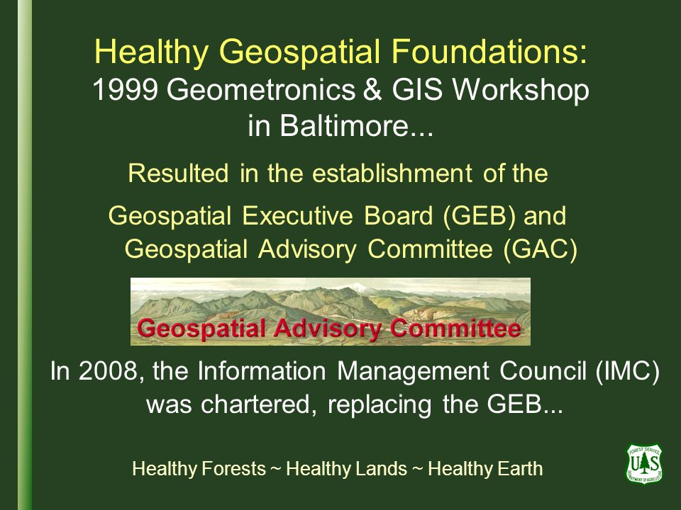 Healthy Geospatial Foundations: 1999 Geometronics & GIS Workshop in Baltimore...