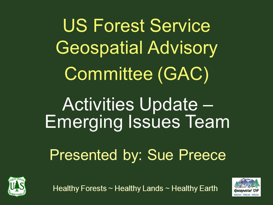 US Forest Service Geospatial Advisory Committee (GAC) Activities Update – Emerging Issues Team Presented by: Sue Preece Healthy Forests ~ Healthy Lands ~ Healthy Earth
