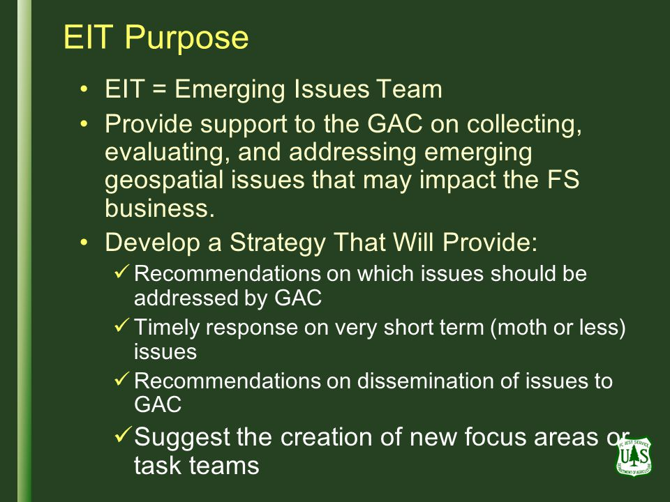 EIT Purpose EIT = Emerging Issues Team Provide support to the GAC on collecting, evaluating, and addressing emerging geospatial issues that may impact the FS business.