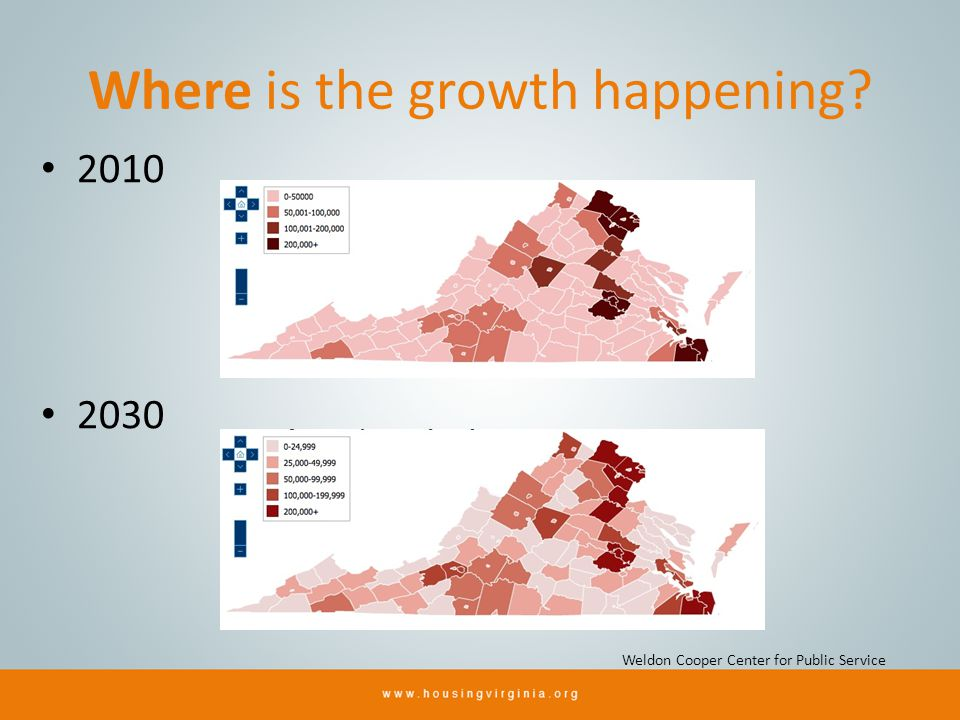 Where is the growth happening? 2010 2030 Weldon Cooper Center for Public Service