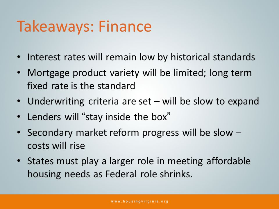 Takeaways: Finance Interest rates will remain low by historical standards Mortgage product variety will be limited; long term fixed rate is the standard Underwriting criteria are set – will be slow to expand Lenders will stay inside the box Secondary market reform progress will be slow – costs will rise States must play a larger role in meeting affordable housing needs as Federal role shrinks.