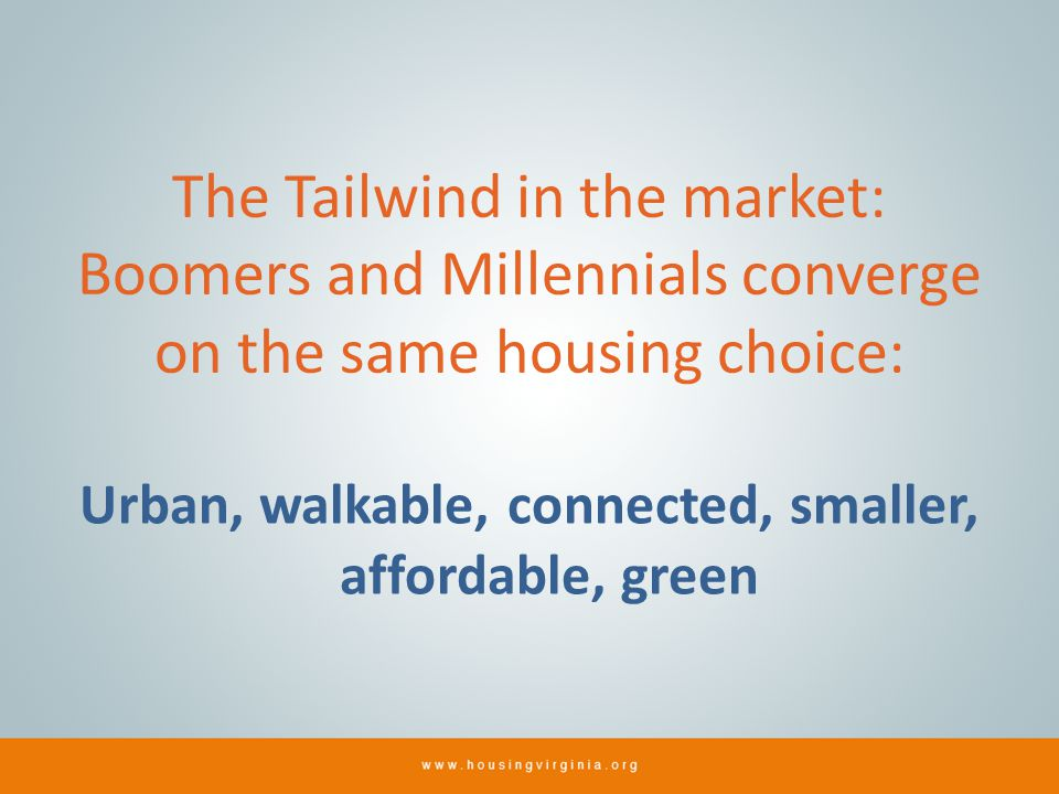 The Tailwind in the market: Boomers and Millennials converge on the same housing choice: Urban, walkable, connected, smaller, affordable, green