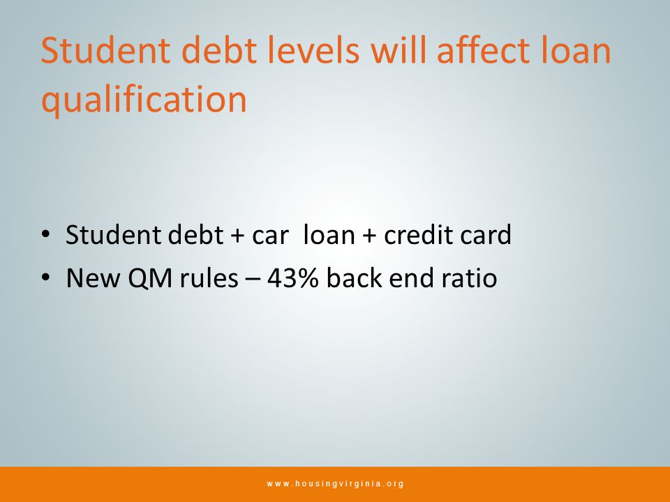 Student debt levels will affect loan qualification Student debt + car loan + credit card New QM rules – 43% back end ratio