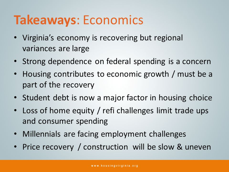 Takeaways: Economics Virginias economy is recovering but regional variances are large Strong dependence on federal spending is a concern Housing contr