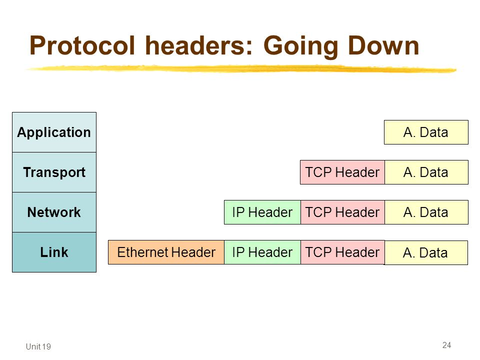 Unit 19 24 Protocol headers: Going Down Application Transport Network Link A. Data TCP Header A. DataTCP HeaderIP Header A. Data TCP HeaderIP HeaderEt