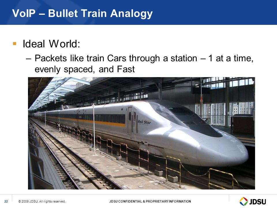 © 2009 JDSU. All rights reserved.JDSU CONFIDENTIAL & PROPRIETARY INFORMATION22 VoIP – Bullet Train Analogy Ideal World: –Packets like train Cars throu