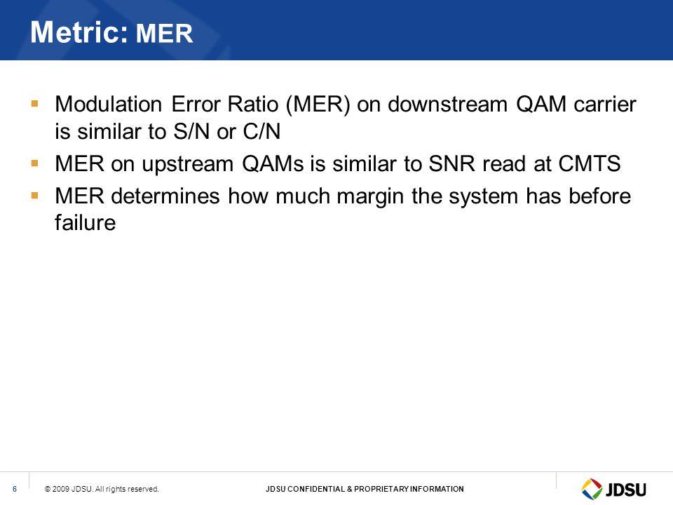 © 2009 JDSU. All rights reserved.JDSU CONFIDENTIAL & PROPRIETARY INFORMATION6 Metric: MER Modulation Error Ratio (MER) on downstream QAM carrier is si