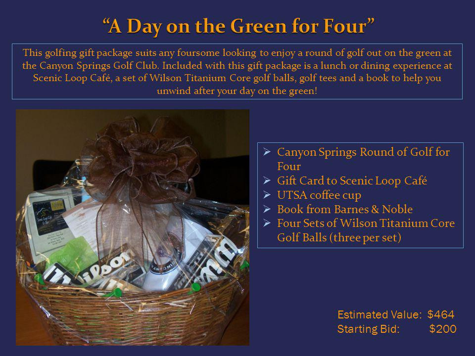This golfing gift package suits any foursome looking to enjoy a round of golf out on the green at the Canyon Springs Golf Club.