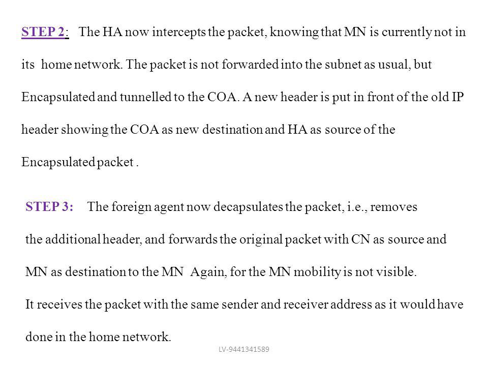STEP 2: The HA now intercepts the packet, knowing that MN is currently not in its home network. The packet is not forwarded into the subnet as usual,