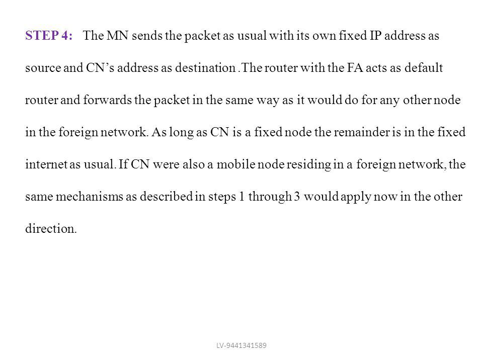 STEP 4: The MN sends the packet as usual with its own fixed IP address as source and CNs address as destination.The router with the FA acts as default