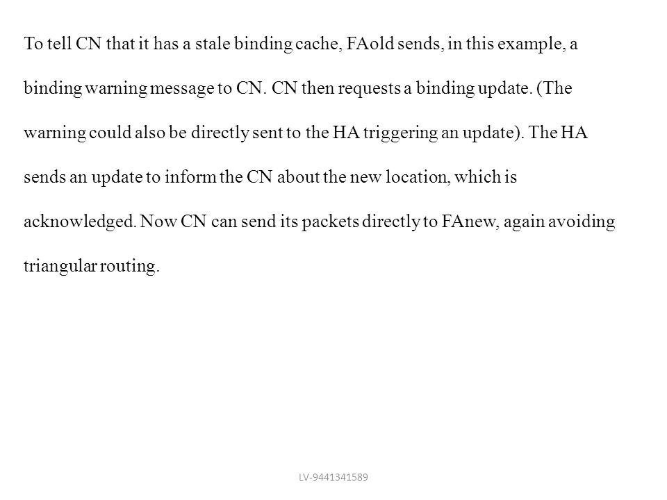 To tell CN that it has a stale binding cache, FAold sends, in this example, a binding warning message to CN. CN then requests a binding update. (The w