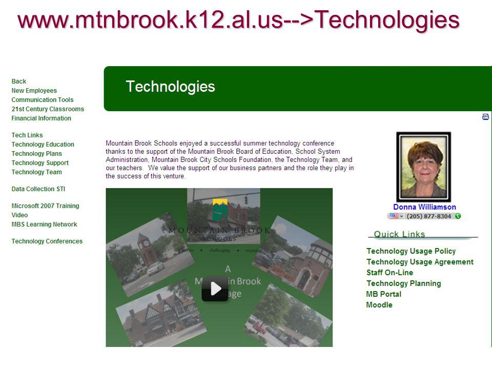 www.mtnbrook.k12.al.us-->Technologies