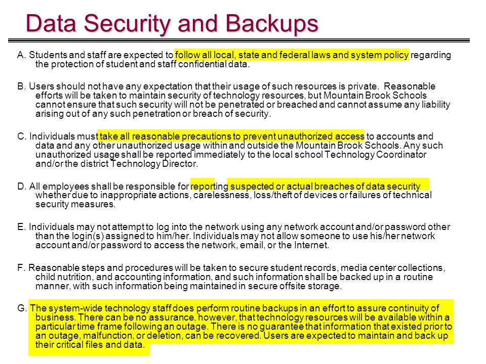 Data Security and Backups A.