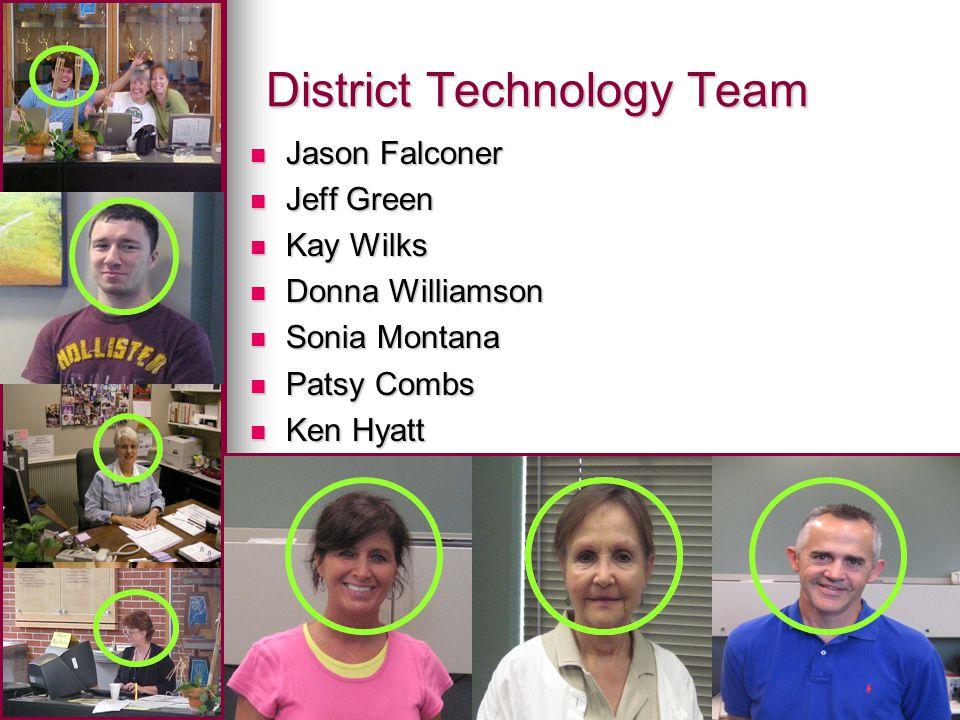 District Technology Team Jason Falconer Jason Falconer Jeff Green Jeff Green Kay Wilks Kay Wilks Donna Williamson Donna Williamson Sonia Montana Sonia