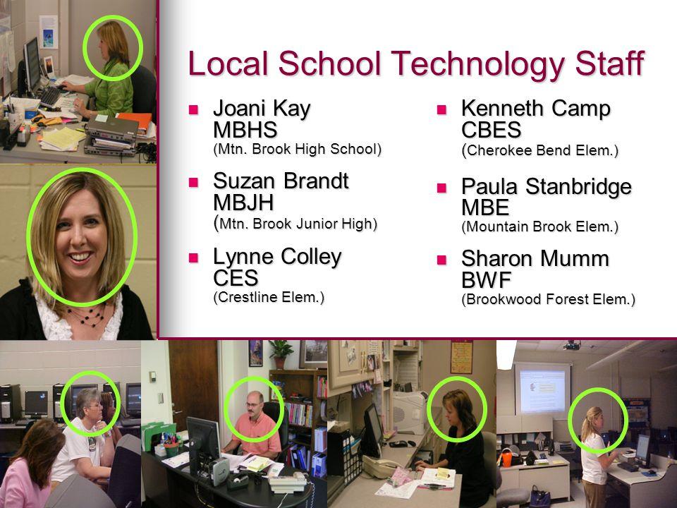 Local School Technology Staff Joani Kay Joani Kay MBHS (Mtn. Brook High School) Suzan Brandt Suzan Brandt MBJH ( Mtn. Brook Junior High) Lynne Colley