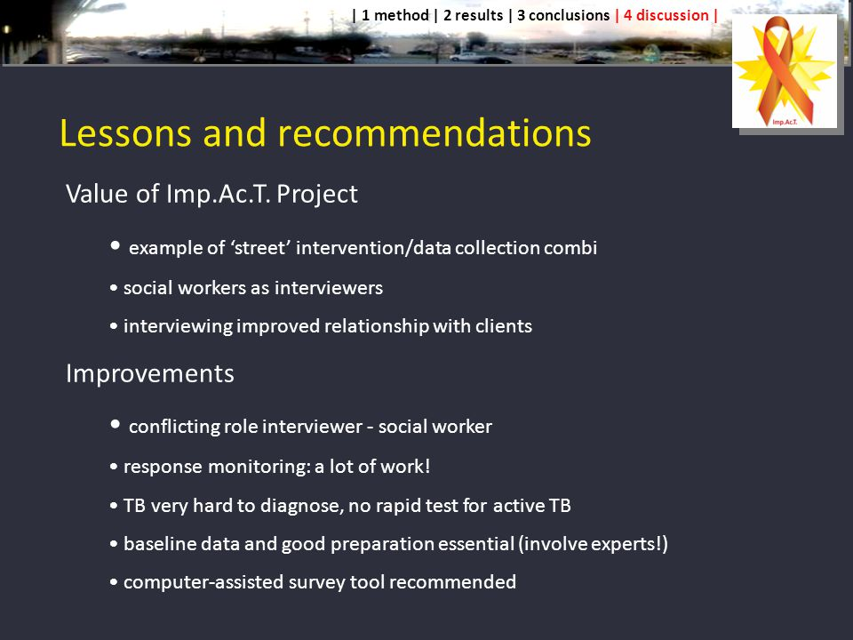 Lessons and recommendations Value of Imp.Ac.T.
