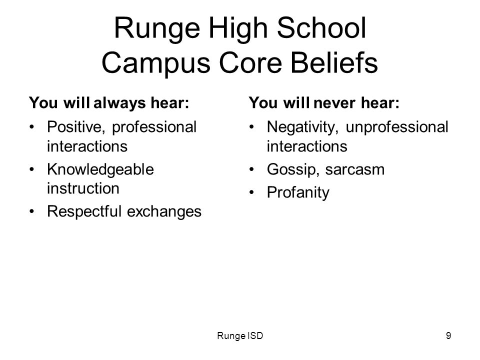 Runge HS20 Runge High School Campus Improvement Plan 2010 -2012 District Goal # 6: RISD campuses will maintain a safe, fair, and well-disciplined environment that is conducive to education Data Analyzed to Determine Need: Repairs to maintenance, discipline referrals Long Range Goal: Maintain a climate of students becoming responsible for their own good behavior Annual Performance Objective: PEIMS Discipline Referral Records Projected Timeline Initiatives/Strategies/Activities Sp.