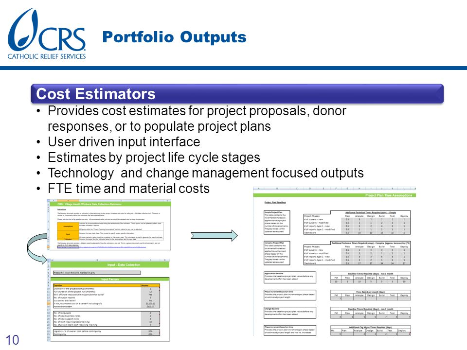 10 Portfolio Outputs Cost Estimators Provides cost estimates for project proposals, donor responses, or to populate project plans User driven input in