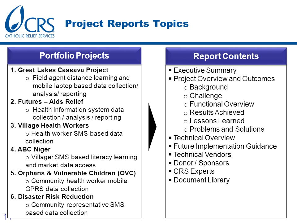 14 Project Reports Topics 1. Great Lakes Cassava Project o Field agent distance learning and mobile laptop based data collection/ analysis/ reporting