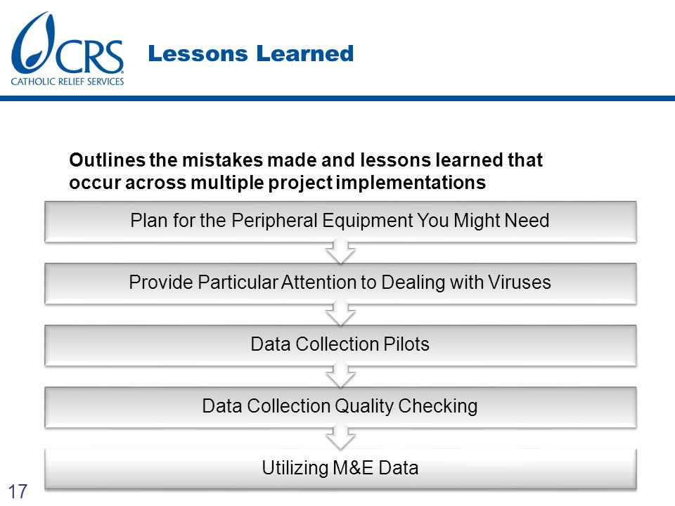 17 Lessons Learned Lessons learnt Outlines the mistakes made and lessons learned that occur across multiple project implementations Utilizing M&E Data