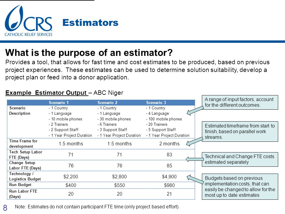 8 Estimators What is the purpose of an estimator? Provides a tool, that allows for fast time and cost estimates to be produced, based on previous proj