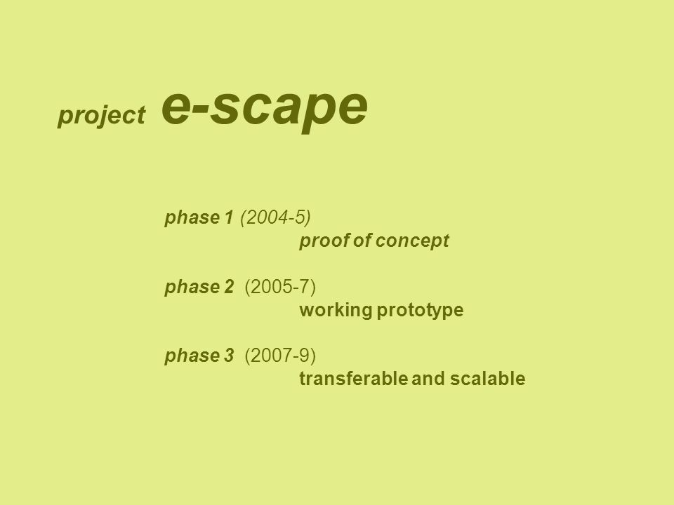project e-scape phase 1 (2004-5) proof of concept phase 2 (2005-7) working prototype phase 3 (2007-9) transferable and scalable