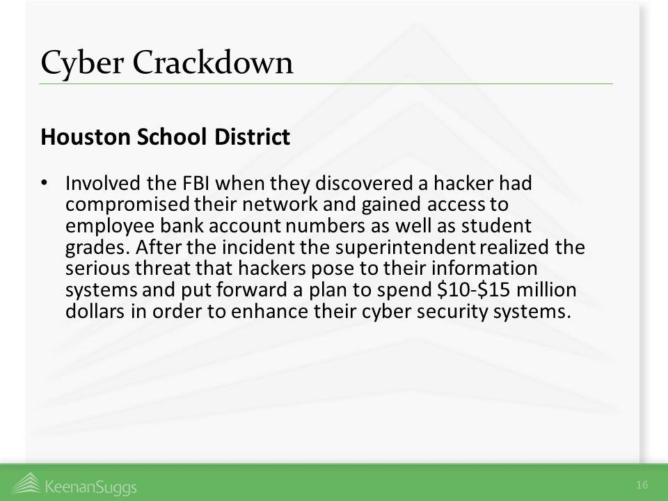 Cyber Crackdown Houston School District Involved the FBI when they discovered a hacker had compromised their network and gained access to employee ban